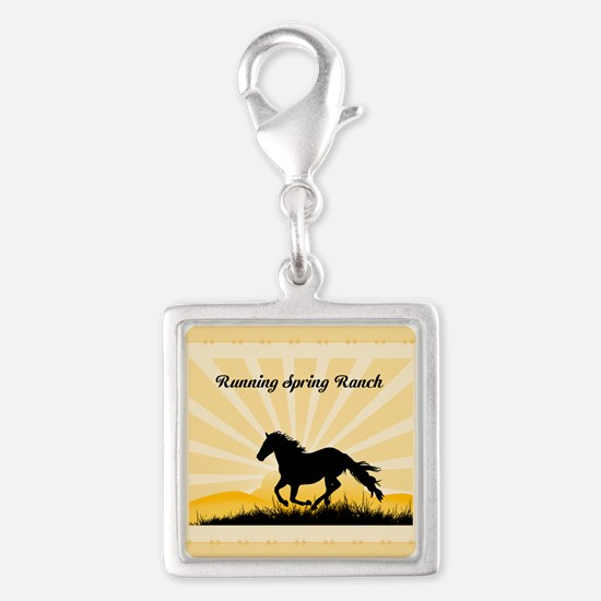 Western Custom Text Silver Square Charm