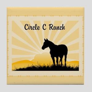 Western Custom Text Tile Coaster