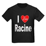I Love Racine (Front) Kids Dark T-Shirt