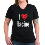 I Love Racine (Front) Women's V-Neck Dark T-Shirt