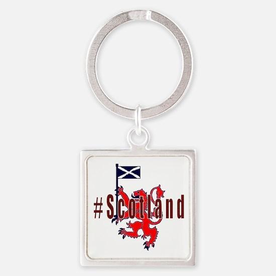 Hashtag Scotland red tartan Keychains