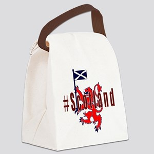 Hashtag Scotland red tartan Canvas Lunch Bag