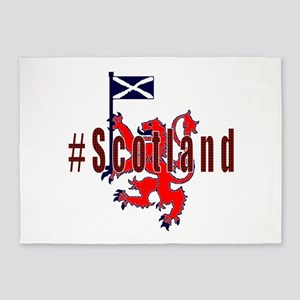 Hashtag Scotland red tartan 5'x7'Area Rug