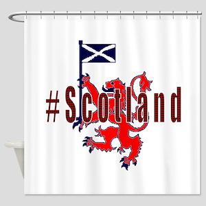 Hashtag Scotland red tartan Shower Curtain