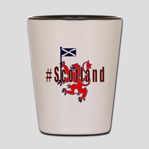 Hashtag Scotland red tartan Shot Glass