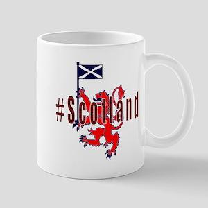Hashtag Scotland red tartan Mugs