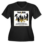 Fest4Kidz Women's Plus Size V-Neck Dark T-Shirt