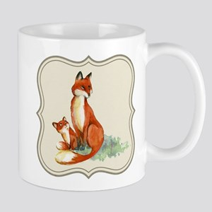 Vintage foxes watercolor painting Mugs