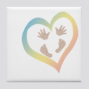 Baby Hands and Feet in Heart Tile Coaster
