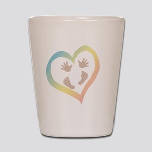 Baby Hands and Feet in Heart Shot Glass
