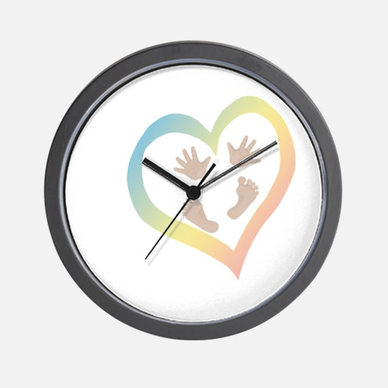 Baby Hands and Feet in Heart Wall Clock