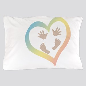 Baby Hands and Feet in Heart Pillow Case