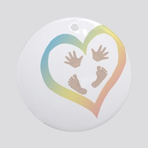 Baby Hands and Feet in Heart Round Ornament
