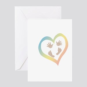 Baby Hands and Feet in Heart Greeting Cards