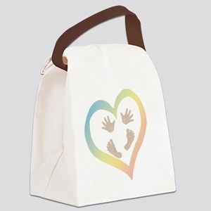 Baby Hands and Feet in Heart Canvas Lunch Bag