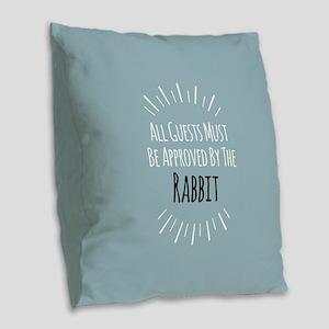 Rabbit Approved Burlap Throw Pillow
