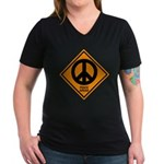 Peace Ahead Women's V-Neck Dark T-Shirt