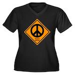 Peace Ahead Women's Plus Size V-Neck Dark T-Shirt