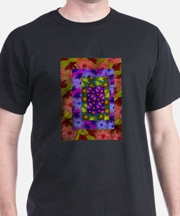 Color Collage of Layered Floral Fabrics T-Shirt
