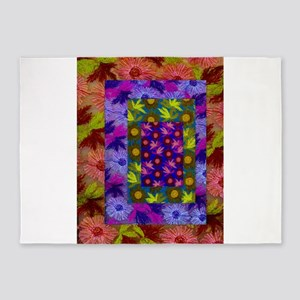 Color Collage of Layered Floral Fab 5'x7'Area Rug