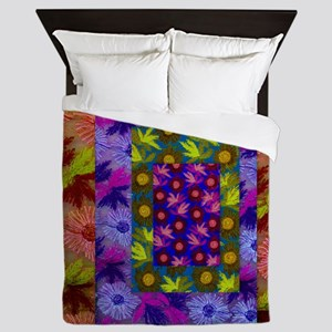 Color Collage of Layered Floral Fabric Queen Duvet