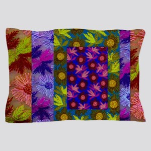 Color Collage of Layered Floral Fabric Pillow Case