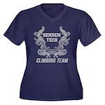 Sendem Tech Women's Plus Size V-Neck Dark T-Shirt