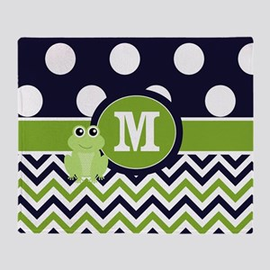 Navy Green Frog Monogram Throw Blanket
