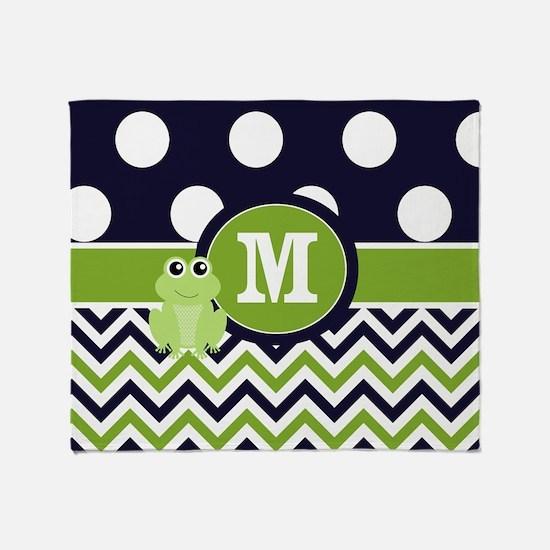 Navy Green Frog Monogram Throw Blanket