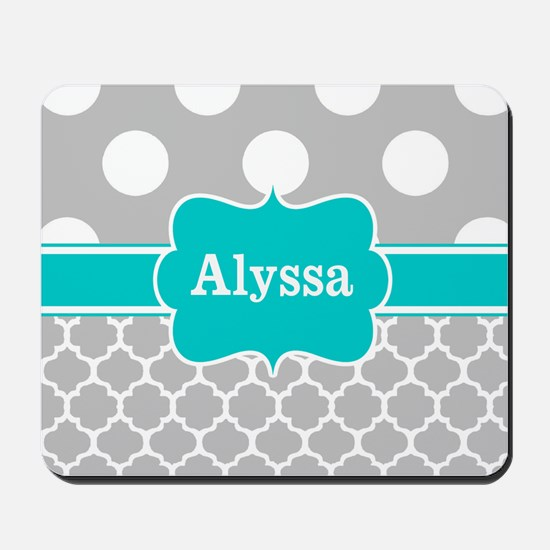 Gray Teal Chevron Dots Personalized Mousepad