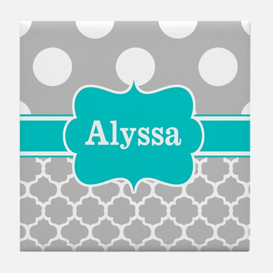 Gray Teal Chevron Dots Personalized Tile Coaster