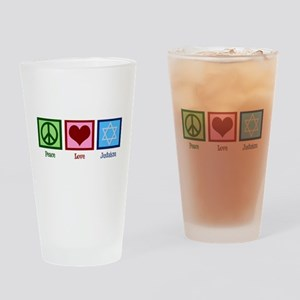 Peace Love Judaism Drinking Glass
