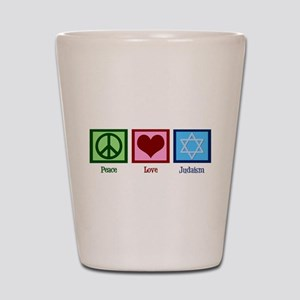 Peace Love Judaism Shot Glass