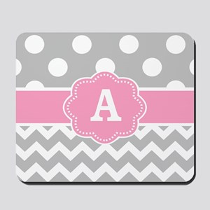 Gray Pink Dots Chevron Monogram Mousepad
