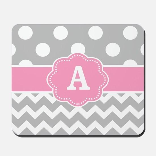 Gray Pink Dots Chevron Monogram Mousepad