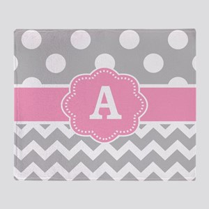 Gray Pink Dots Chevron Monogram Throw Blanket