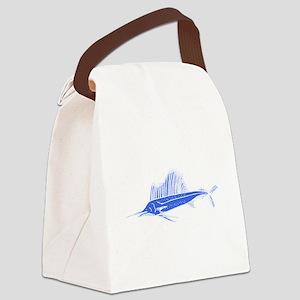 Blue Sail Fish Canvas Lunch Bag