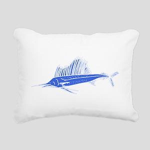 Blue Sail Fish Rectangular Canvas Pillow