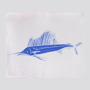 Blue Sail Fish Throw Blanket