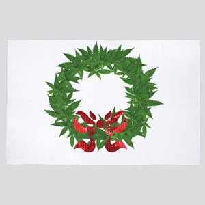 cannabis christmas wreath 4' x 6' Rug