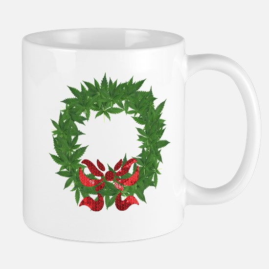 cannabis christmas wreath Mugs