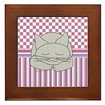 Sleeping Gray Cat Pink Pattern Framed Tile