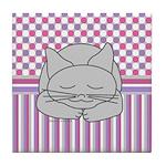 Sleeping Gray Cat Pink Pattern Tile Coaster