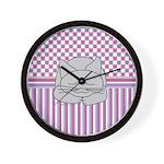 Sleeping Gray Cat Pink Pattern Wall Clock