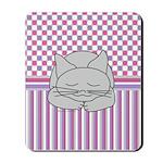 Sleeping Gray Cat Pink Pattern Mousepad
