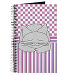 Sleeping Gray Cat Pink Pattern Journal