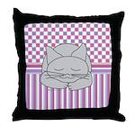 Sleeping Gray Cat Pink Pattern Throw Pillow