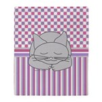 Sleeping Gray Cat Pink Pattern Throw Blanket