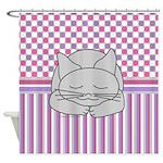 Sleeping Gray Cat Pink Pattern Shower Curtain