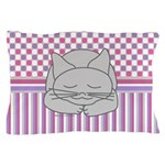 Sleeping Gray Cat Pink Pattern Pillow Case